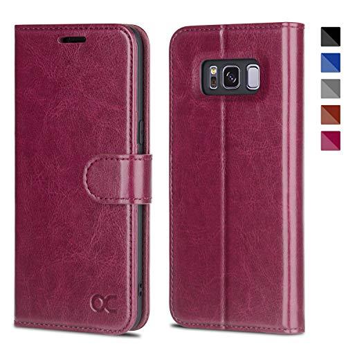 OCASE Samsung Galaxy S8 Hülle, Handyhülle Samsung Galaxy S8 [Premium Leder] [Standfunktion] [Kartenfach] [Magnetverschluss] Schlanke Leder Brieftasche für Samsung Galaxy S8 (5,8 Zoll) (Burgundy)