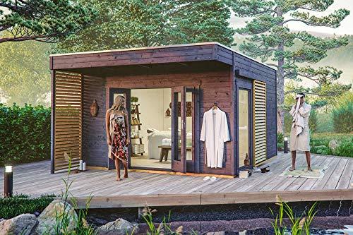 *SKAN HOLZ Tokio 4, 19mm Gartenhaus, 2- schalig, schiefergrau, 402 x 402 cm*