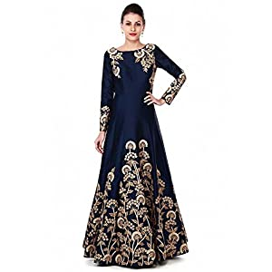 Ved Fashion Women's Taffeta Silk Anarkali Semi Stitched Gown (Blue)