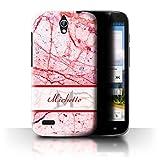 Stuff4® Personalisiert Personalisiert Marmor Hülle für Huawei Ascend G610 / Rot & Rosa Banner Design/Initiale/Name/Text Schutzhülle/Case/Etui