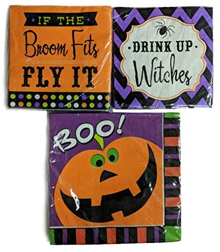 Halloween-Servietten, verschiedene Designs - 3 x 20 Servietten je 60 Stück