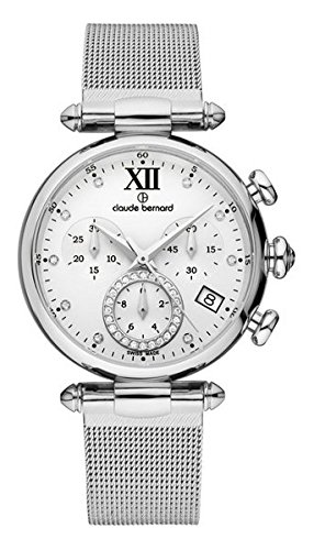 Claude Bernard Women's 10216 3 APN1 Dress Code Chronograph Analog Display Swiss Quartz Silver Watch