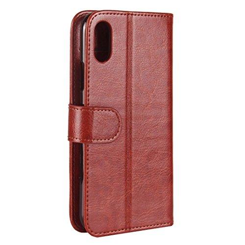 Wkae Verrückte Pferd Textur PU + TPU Horizontale Flip Leder Tasche mit Halter & Card Slots & Wallet & Photo Frame für iPhone X ( Color : White ) Brown
