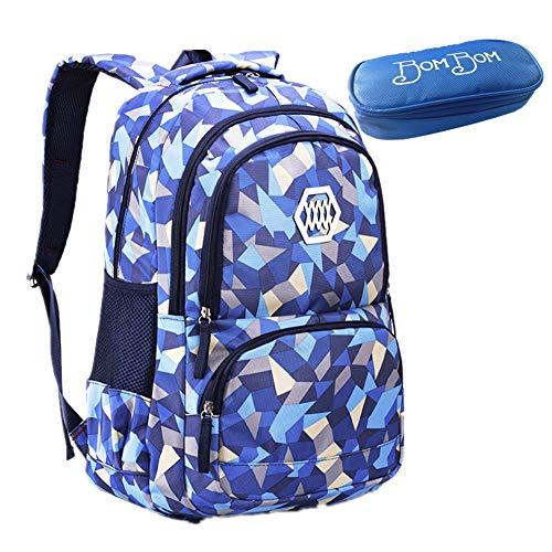 Bom Bom Mochila Escolar Impermeable para Estudiante (azul)