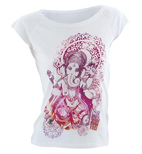 Natural Born Yogi Groovy Ganesha - Camiseta de yoga para mujer, tamaño L, color blanco