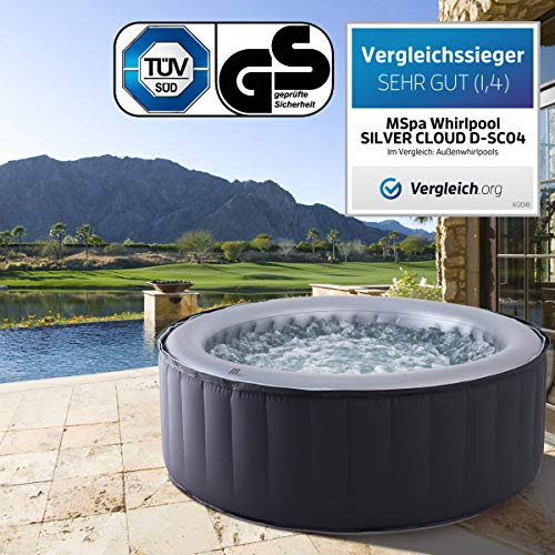 Whirlpool MSpa aufblasbar für 4 Personen SPA Ø180x70cm In-Outdoor Pool 118 Massagedüsen Timer Heizung Aufblasfunktion per Knopfdruck TÜV geprüft Bubble Spa Wellness Massage