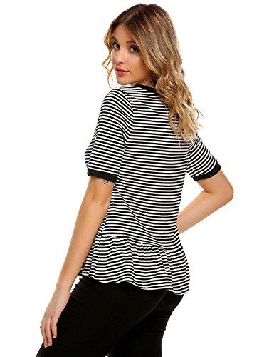 Chigant Damen Gestreifte T-Shirt Top Runhals Kurzarm Streifen Shirt mit Volantsaum  Schwarz ...