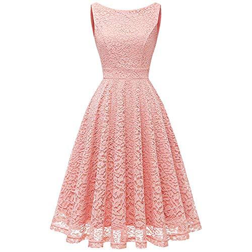 New Female Sleeveless Lace Summer Dress Office Fashion Women Swing Dresses Elegant Sweet Party Pink Lace Vestido Pink M Lace Velvet Romper