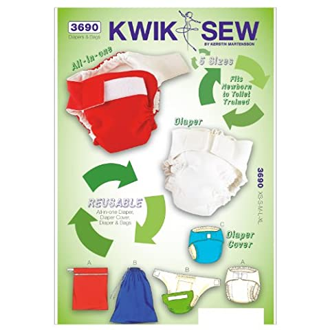 Kwik Sew Patterns K3690 Size Extra-Small/ Small/ Medium/ Large/ Extra-Large Bag Sizes Small/ Medium/ Large Diapers/ Diaper Cover/ Insert and Bags, Pack of 1, White