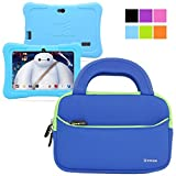 Dragon Touch 7 Inch Tablet Bag, Evecase Dragon Touch 7-inch Quad Core Android Kids Tablet Neoprene Sleeve Case Slim Briefcase w/ Handle & Accessory Pocket / Ultra Portable Travel Carrying Case Sleeve Portfolio Pouch Cover - Blue