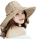 Superora Cappello da Sole Donna Estivo in Cotone Tesa Larga Cappello Parasole Pieghevole Anti UV Protezione Solare Spiaggia Estate