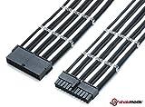Shakmods - Cavo di prolunga per scheda madre, 24 pin, ATX, bianco e nero, con guaine non termorestringenti e 2 pettini, cavo da 30 cm