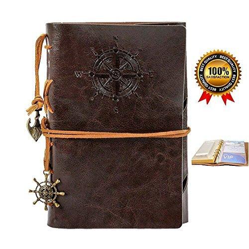 Refill Vintage Leder Notizbuch Tagebuch, 17,8cm, Bezug Leder Retro Notebook, Spirale Ring Binder, Kaffee Farbe