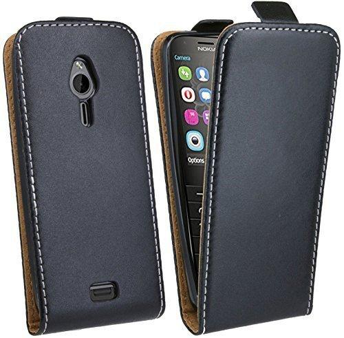 cofi1453 Nokia 230 // Klapptasche Schutztasche Schutzhülle Flip Tasche Hülle Zubehör Etui in Schwarz Tasche Hülle
