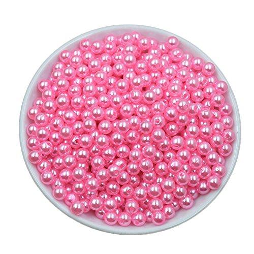 janedream DIY Acryl Rund Simuliert Pearl Distanzhalter Lose für Halskette Armband Ohrringe Schmuckherstellung 50 PCS, rose, 8 mm (Glas-edelsteine Multi-farbigen)