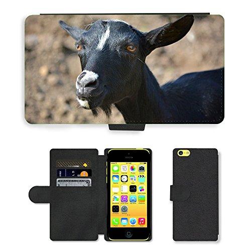 Just Mobile pour Hot Style Téléphone portable étui portefeuille en cuir PU avec fente pour carte//m00140209Mammifère Animal de Chèvre Noir et Blanc//Apple iPhone 5C