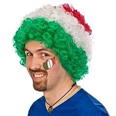 Idea Regalo - Parrucca Italia Riccia tricolore verde bianco rossa