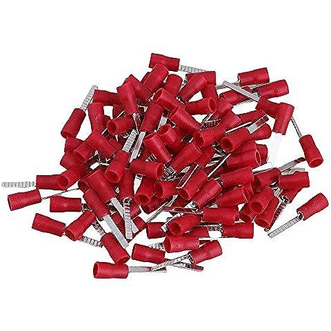 CNBTR in ottone, 100 pezzi, colore: rosso-lama piatta isolato 22-16AWG Electrics-Terminale a forcella a crimpare per connettori cavi - Isolato Terminali A Forcella