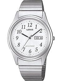 Lorus by Seiko RXN53AX9 Mens Expanding Bracelet White Dial Easy To Read Day Date 30 Metres