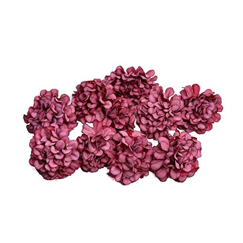 KKEINYE 10 Teile/los künstliche Blume Silk Hydrangea Blume Kopf für Hochzeit Dekoration DIY Kranz geschenkbox sammelalbum Handwerk Rot