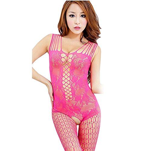Dessous-Sets, GJKK Damen Reizvoller Siamese Underwear Open Crotch Mesh Fischnetz Bodystocking Strumpf Dessous Perspektive Unterwäsche Versuchung Unterwäsche (Hot Pink, F)