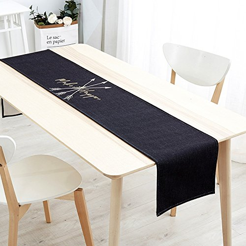 Schwarz Bauernhaus (Kelly' Harvest House Tischläufer Wrinkle-Free für Hochzeit Tisch Bauernhaus Tischläufer Klavier Abdeckung Tuch Vintage geometrische Satin, mehrere Muster, schwarz (Farbe : C, größe : 30x220CM))