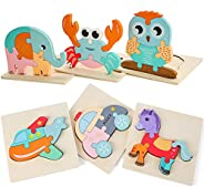 Wooden Toddler Puzzles Gifts Toys for Boys and Girls, 6 Pack Animal Airplane Shape Montessori Toy, Fine Motor