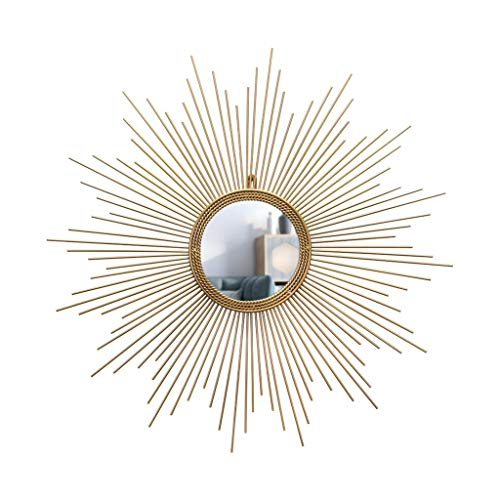 ZhanMaT Konvexer Spiegel- Europäische Spiegel Antike Badezimmerspiegel Kunstform Dekoration Spiegel Goldene Runde Sonne Wand Badezimmerspiegel (Size : 90cm) - Runde Antik