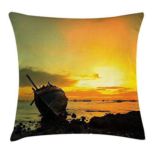 VVIANS Ocean Decor Throw Pillow Cushion Cover, Abandoned Wooden Little Ship on The Bay and Mist Horizon Dusk Landscape Image, Decorative Square Accent Pillow Case, 18 X 18 inches, Orange Brown