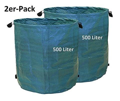 Sac pour déchets de jardin sac de jardin 500liter Lot de 2en tissus (PE Polyéthylène) 150gsm pliable et selbstst ehend–Gardez votre jardin propre. 86 x 87 cm vert foncé