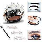 ladygo 3Schablonen Augenbrauen Stempel Wasserdicht Puder Pinsel Eye Brow ideale Abdichtung natürlich aussehende Augenbrauen Grazile Form in Sekunden Make-up Werkzeug, für Anfänger & Busy Menschen