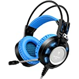 Headset,NUBWO K6 Gaming Headsets with Microphone for Gamer PC Laptop, USB 2.0 Connector Headphones with In-Line Volume Control, LED Light 2 Meters Long Cable (Black-Blue)