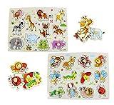 Hillento Pegged Puzzle in Legno, Puzzle dei Bambini di Legno ancorato di Puzzle, l'apprendimento Giocattoli di Formazione prescolare Primi e Giochi per Bambini, Set da 2, Insetti e Animali
