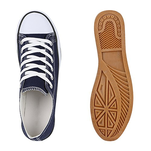 Freizeit Herren Sneakers Low Canvas Schuh Dunkelblau