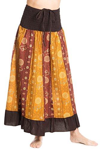 Gonna maxi o abito, colorato e decorato con il patchwork con fascia elastica in vita, ca. 100 cm, marrone 4