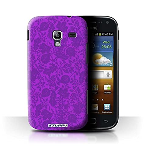 STUFF4 Phone Case / Cover for Samsung Galaxy Ace 2/I8160 / Purple Design / Leaf/Silhouette Pattern Collection