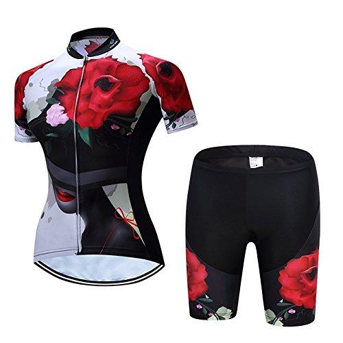 LBY Cycling Jerseys Radtrikots - Female Quick-Dry Atmungsaktive Kurzarm-Fahrrad-Uniform mit 3D Gel Pad Bib Shorts für Pro Fahrrad-Kleidung, 002, M - Gel-bib