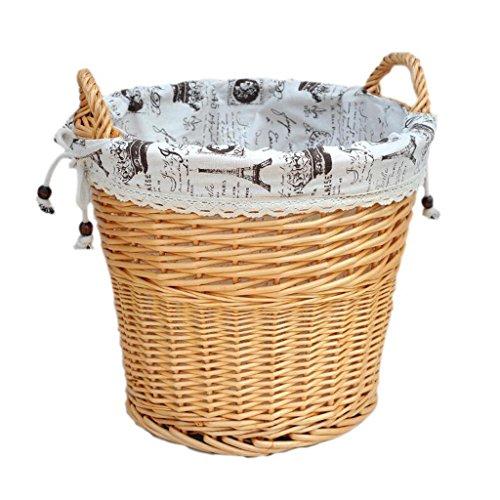 CHENGYI Hellgelb Willow Dirty Korb Rattan Korb Schmutzig Kleidung Korb Wäsche Korb Spielzeug Lagerung Fässer Hand Made Dirty Clothes Storage Basket (Farbe : A)