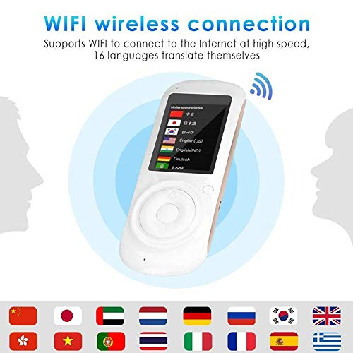 LXYFMS Intelligentes bidirektionales Sprachübersetzungsgerät, 2,4-Zoll-Touchscreen, simultane bidirektionale Mini-Handübersetzung Übersetzer (Color : Black)