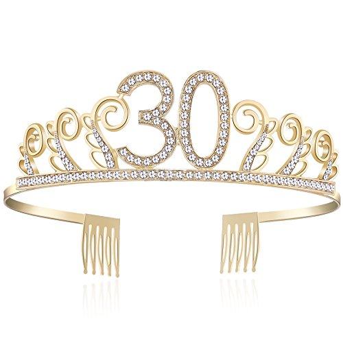 BABEYOND Kristall Geburtstag Tiara Birthday Crown Prinzessin Geburtstag Krone Haar-Zusätze Rosa oder Silber Diamante Glücklicher 18/20/21/30/40/50/60/90 Geburtstag (30 Jahre alt Gold) (Tiara Geburtstag 30.)