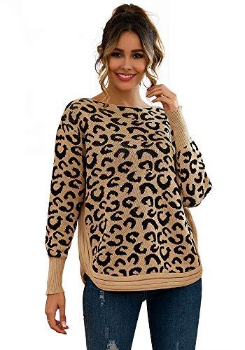 Mini Balabala Jersey de Punto para Mujer con Estampado de Leopardo, Talla Grande, Cuello Redondo Caqui 42