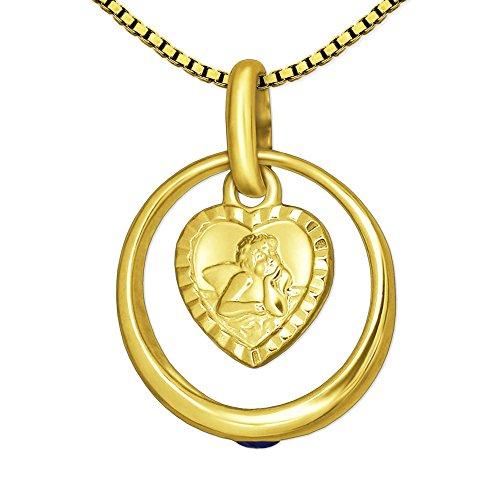 CLEVER SCHMUCK-SET Goldener kleiner Taufring Ø 12 mm Edelstein Safir mit Einhänger Engel herzförmig seidenmatt Rand diamantiert 333 Gold 8 KARAT und vergoldeter Kette Venezia 36 cm für Junge