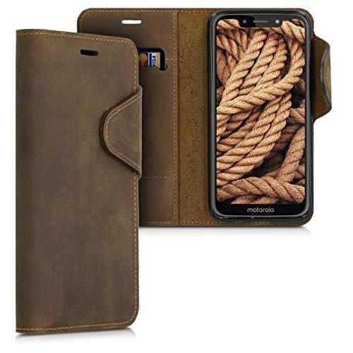 kalibri Motorola Moto G7 Play Hülle - Leder Handyhülle für Motorola Moto G7 Play - Handy Wallet Case Cover