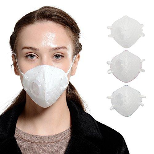 KANJEKANLE Adult Anti-Bakterien Staub Anti-Formaldehyd Partikel Maske,Elektrostatisches Baumwoll Material, Ventil,Weiß,Blau,Rosa (Nase Lecken)