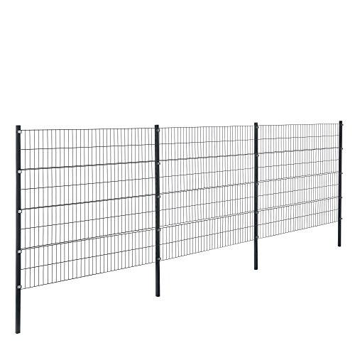 [pro.tec] Doppelstabmattenzaun - 6 x 1,6 m - Eisen Gartenzaun Metallzaun Set (grau)