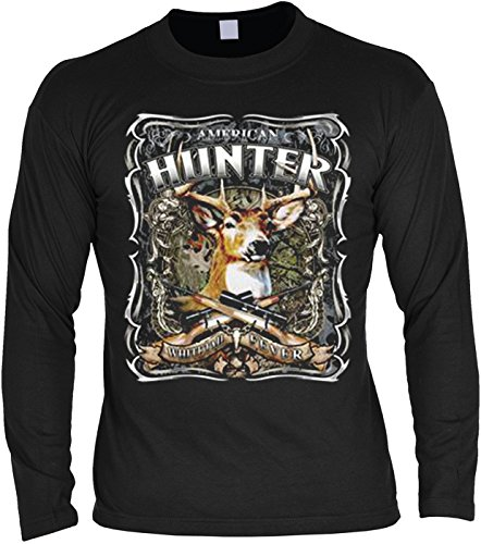 Pop Art ::: Deer American Hunter ::: US LongShirt für Jäger with Art Style Motive Schwarz
