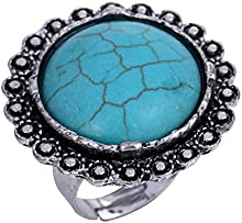 Yazilind tallada Ronda turquesa de plata tibetana llamativo anillo ajustable para