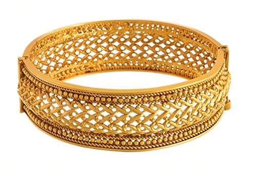 Jfl - Jewellery For Less Traditional Ethnic One Gram Gold Plated Openable Kada Bangle For Women