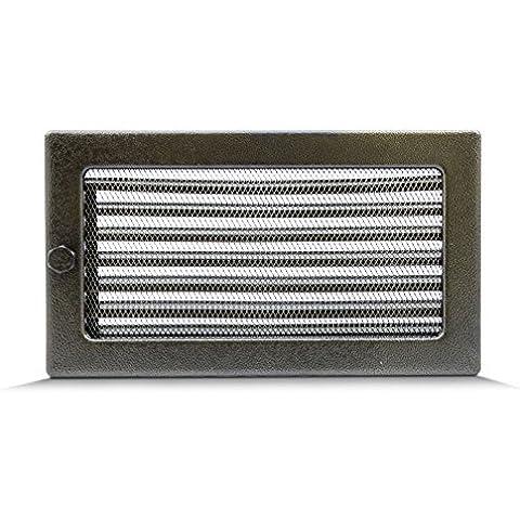 17x30cm Rejilla de lamas Aire rejilla ventilación Chimenea regulable - acero inoxidable - NEGRO Y