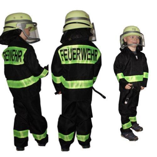 KFG 128 Feuerwehr-Kostüm Kinder, schwarz neon (Feuerwehr Frau Kostüm Zubehör)